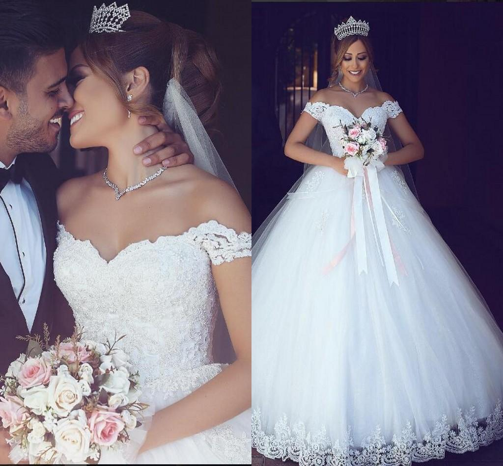 Wedding Gowns Cheap: Lace Arabic 2016 Wedding Dresses Sweetheart Pearls Ball