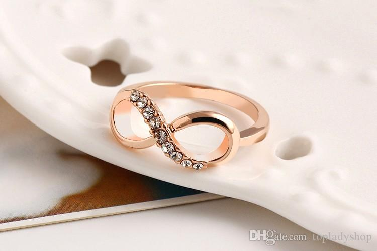 Lucky 8 word zircon crystal metal El anillo anillo del todo-fósforo simple anillo de la joyería de lujo temperamento mujer envío gratis