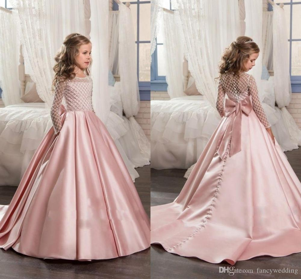 Stain First Communion Dresses Little Kids Child Pageant Party Gowns ...
