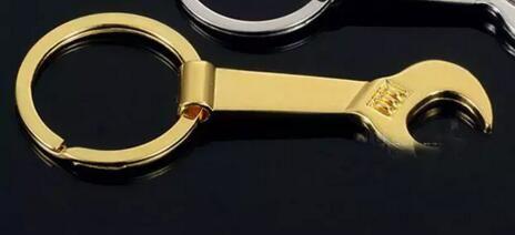 8.5 * 3.2 cm Herramienta Llave de Metal Llave Palanca Abrebotellas Llavero Llavero Regalo Oro Plata