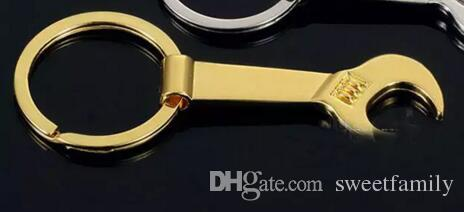 8,5 * 3,2 cm Werkzeug Metall Schraubenschlüssel Hebel Flaschenöffner Schlüsselanhänger Schlüsselanhänger Geschenk Silber Gold 2 Farbe