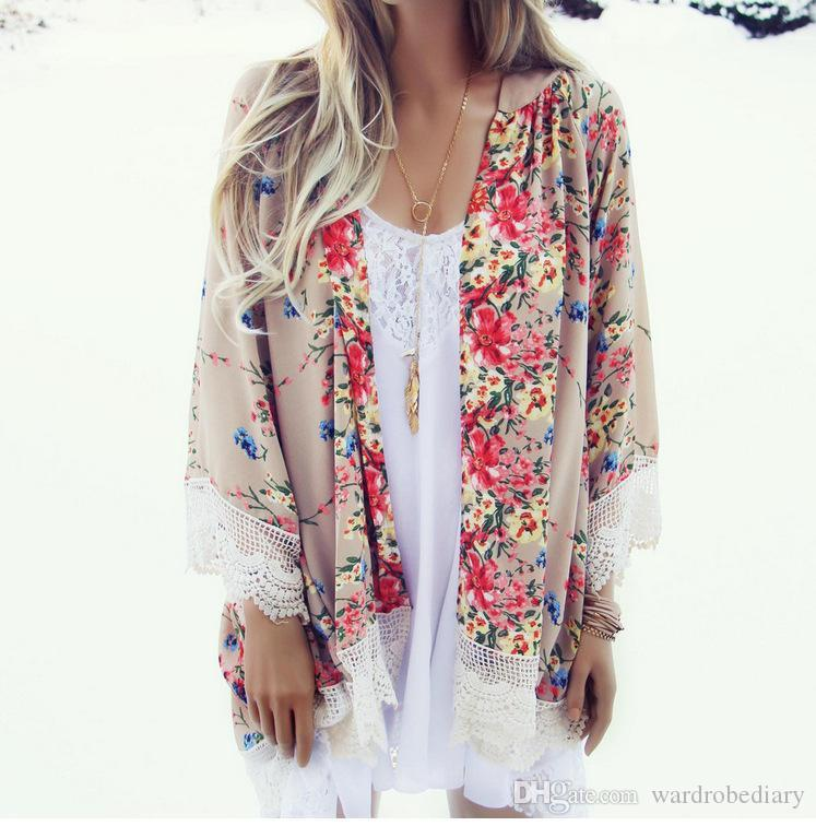 659db23c23305 Womens Floral Printed Blouse Long Sleeve Chiffon Kimono Cardigan Tops Loose  Coat Bikini Cover Up Summer Beach Style Flower Lace Cover Ups T Shirts  Vintage T ...