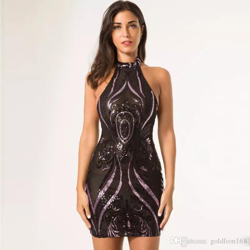 Sequined Dress Black Sheer Mesh Halter Nigth Out Club Dress Ladies