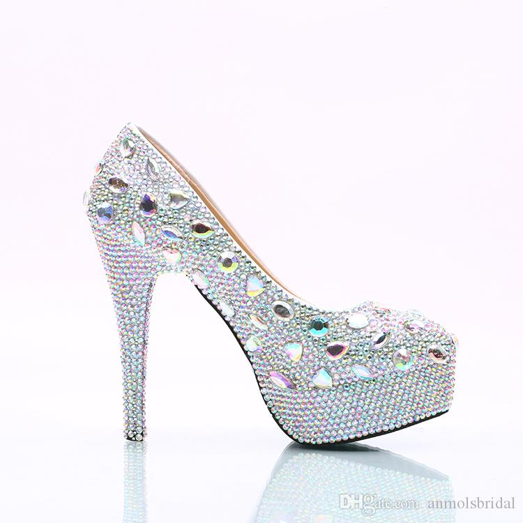 Wholesale Plus Size Silver Beaded Crystals Bridal Bridesmaid Wedding Shoes Prom Evening Party High Heels Hand-made Cinderella Shoes 177