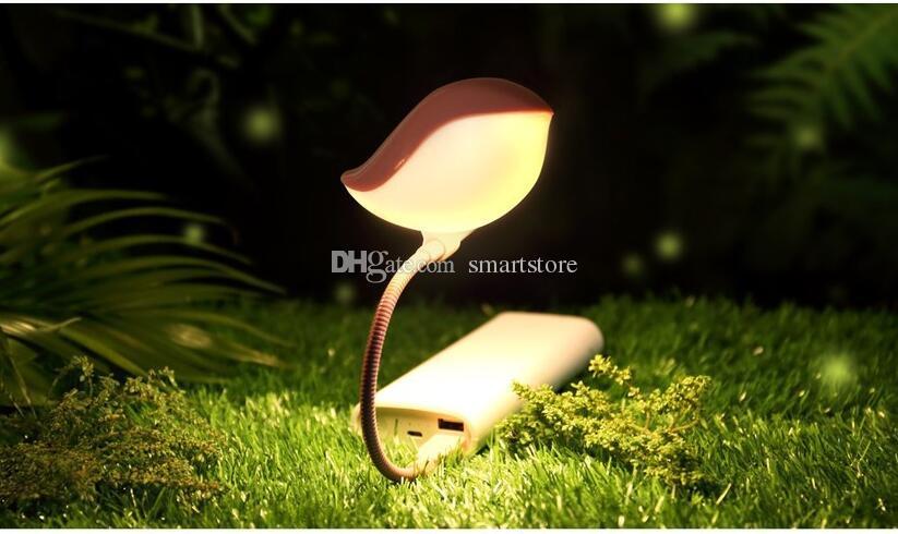 50 adet Yatak Odası Küçük Gece Lambası Kuş USB Şarjlı Masa Lambası işıklar LED Masa Lambası Bilgisayar Dizüstü Dizüstü PC 0001