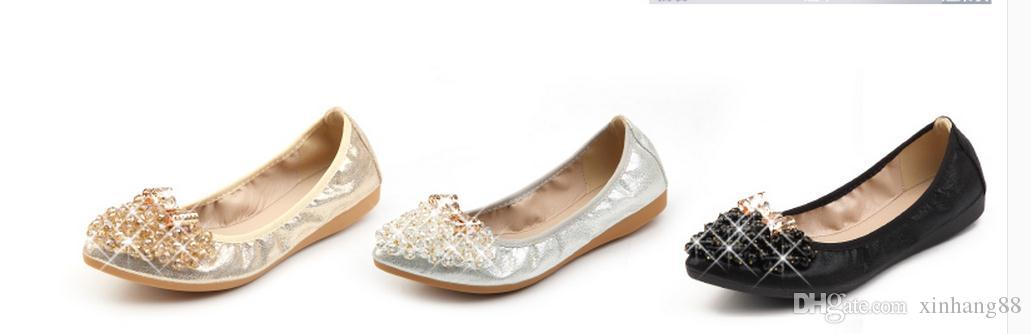Beaded cone the spring and autumn period and the new small yards single shoes flat shoes beaded rhinestone soft bottom big yards for women