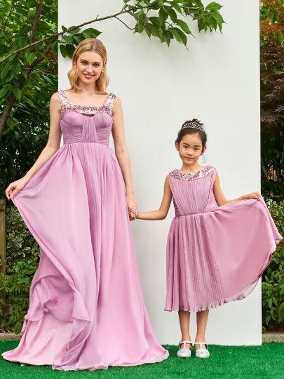 Pays princesse fille de fleur robes de mariage 2018 paillettes bijou fermeture éclair dos en mousseline de soie mère et fille robes de soirée