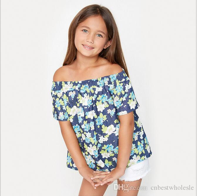 a5d7b0ddb5a 2019 Summer Teenager Printed Floral T Shirts Junior Fashion Off Shoulder  Shirts 2017 Big Baby Girls Casual Clothing From Cnbestwholesle
