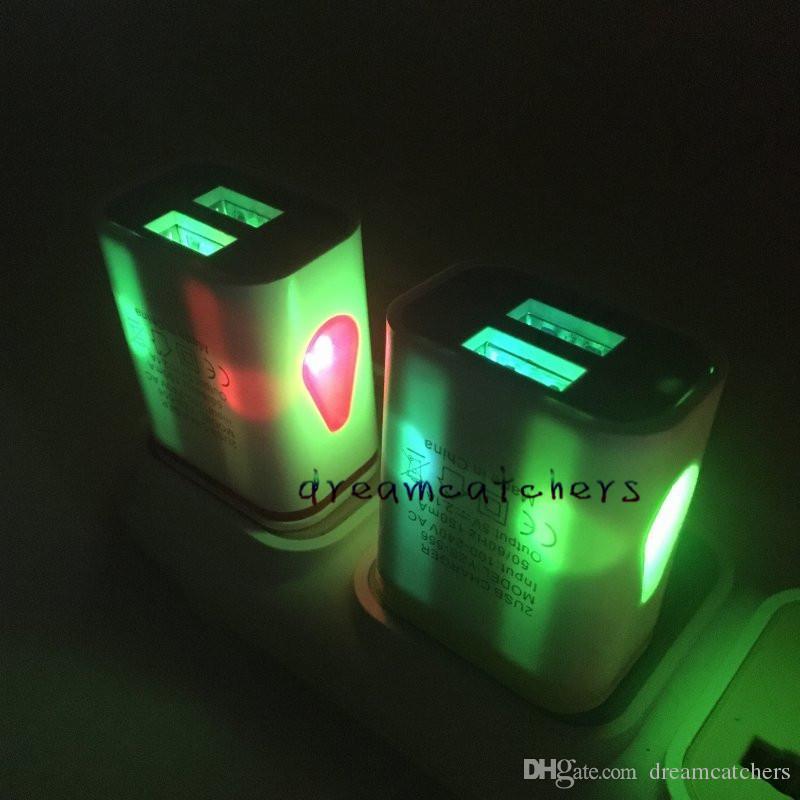 Luz LED Dual USB Wall Charger 5V 2.1 A + 1A Travel Adaptador de corriente alterna para teléfono móvil para iphone 7 6s Samsung S7 S6 edge ipad