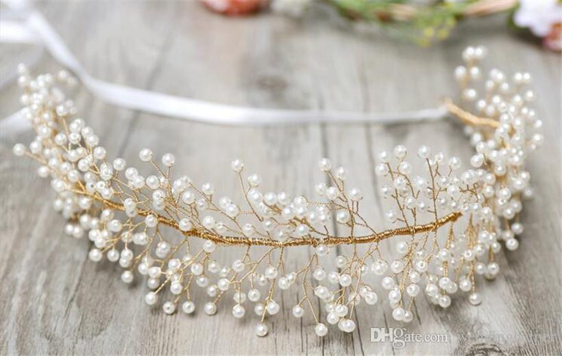 Vintage Wedding Bridal Crystal Rhinestone Headband Ribbon Pearl Headpiece Hair Band Gold Accessories Jewelry Crown Tiara Princess Queen Band