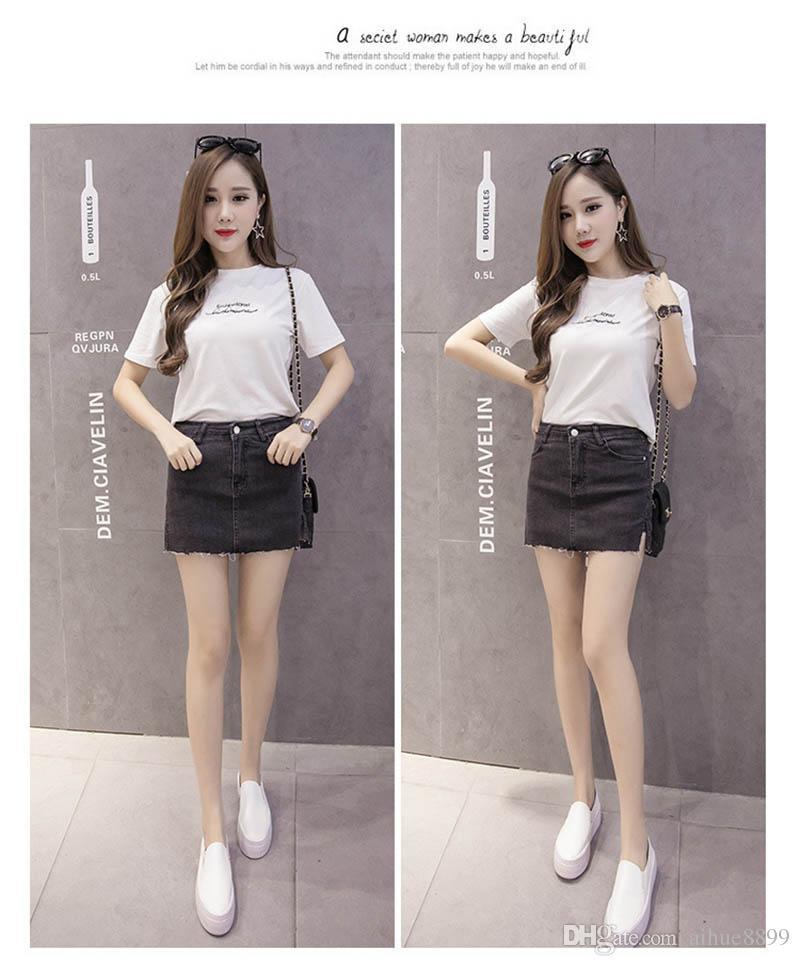 Neue beiläufige Frauen-Sommer-Saias Plus Size-Denim-Jeans-Rock-Dame Short Jean Bleistiftröcke Midi XXXL 4XL 5XL 6XL Femininas