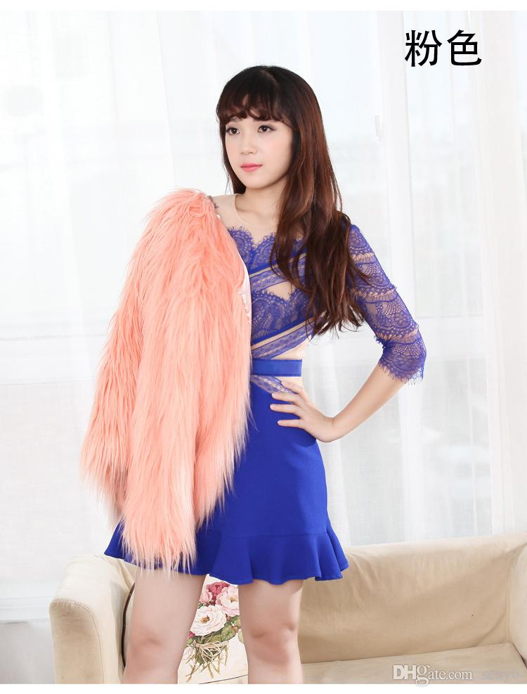Casaco de inverno casaco nupcial faux pele envolve xales quente outerwear rosa branco roxo preto longo mangas compridas grande casaco flutuante noite festa