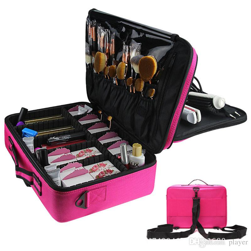 Women Professional Makeup Organizer Kit Pink Cosmetic Case Large Capacity Storage  Bag Free Disassembly Makeup Suitcases Cosmetic Pouch Professional Makeup ...