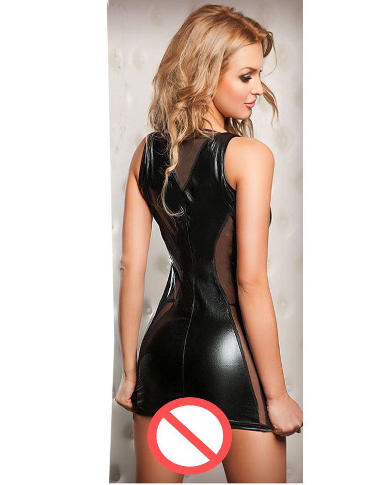 Tank Style Women's Novelty Sexy Mini Dress Deep V Neck Erotic Black Lingerie Mesh Dress Party Night Club Bodycon Lace-up Short Dress