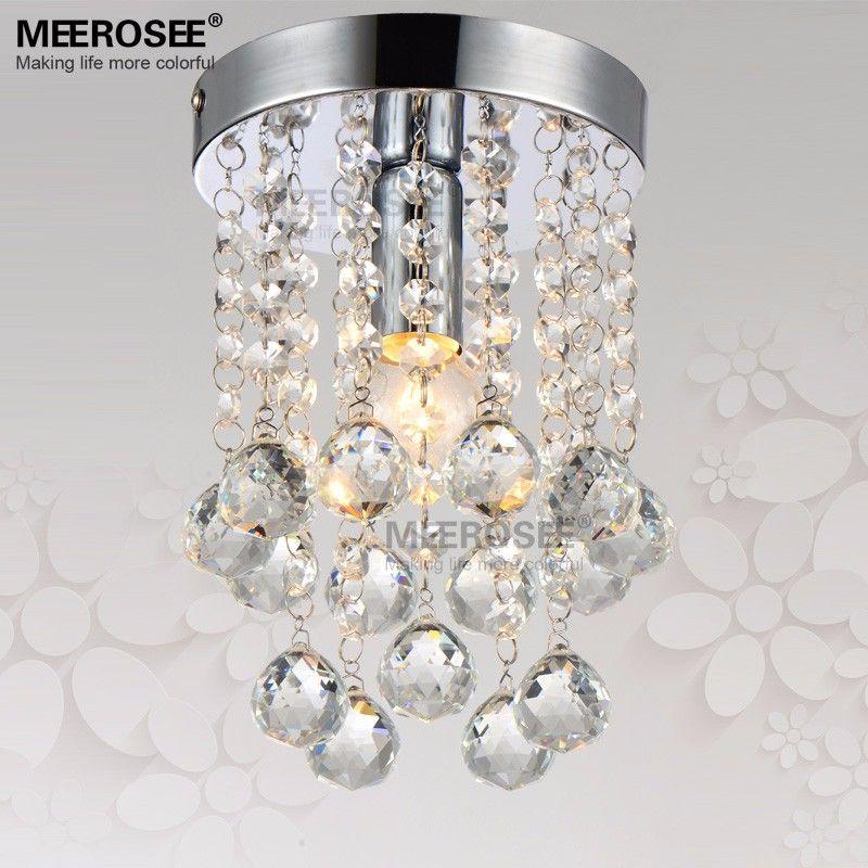 Small Crystal Chandelier Light Fixture 1 Clear Re Lamp For Aisle Stair Hallway Corridor Porch Bathroom Restaurant Exterior Pendant