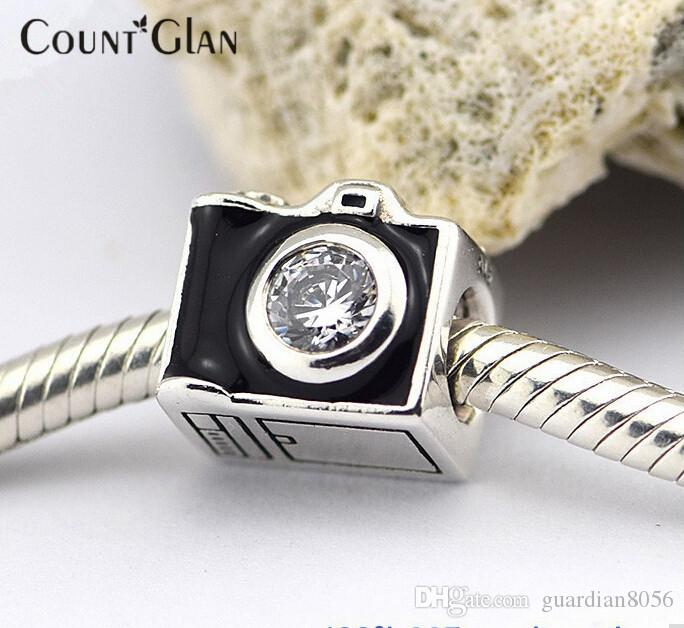 Fits Pandora Bracelet & Necklace Camera Silver Beads With Cubic Zirconia New Original 925 Sterling Silver Charms DIY Wholesale