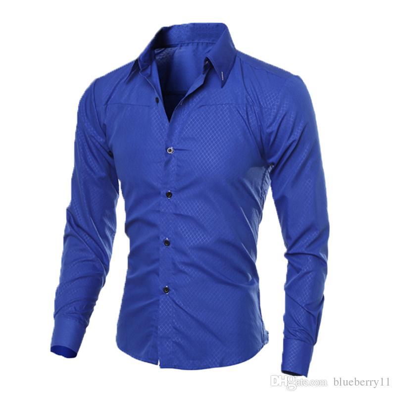 Lüks Erkek Slim Fit Gömlek Uzun Kollu Gömlekler Casual Örgün İş Gömlek Katı Marka Giyim camisa sosyal masculina M-4XL