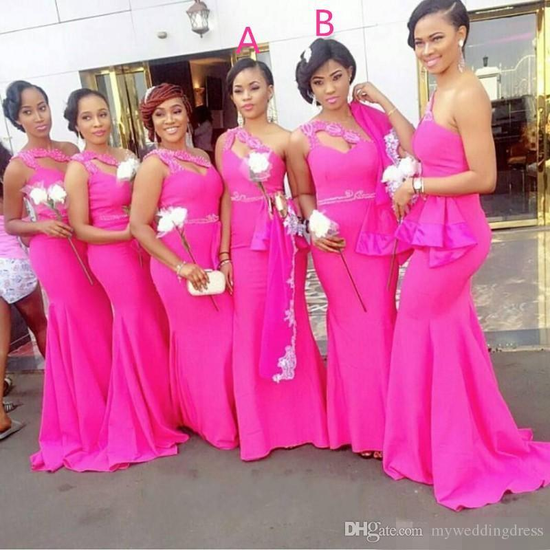 Fuchsia Mermaid South Africa Bridesmaid Dresses 2017 Plus Size One ...