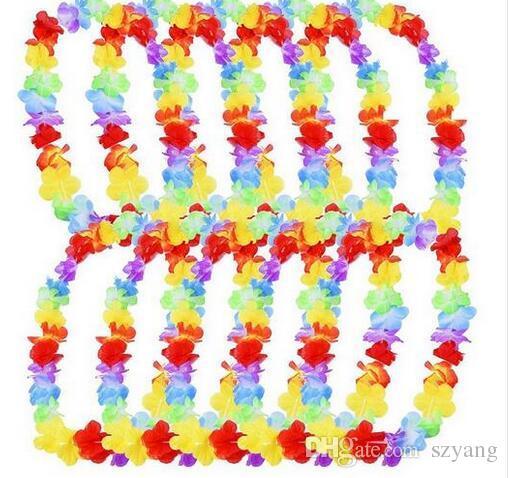100шт/много Лейс цветочные гирлянды Гавайев/тропический вечеринку курица ночь необычные платья ожерелье