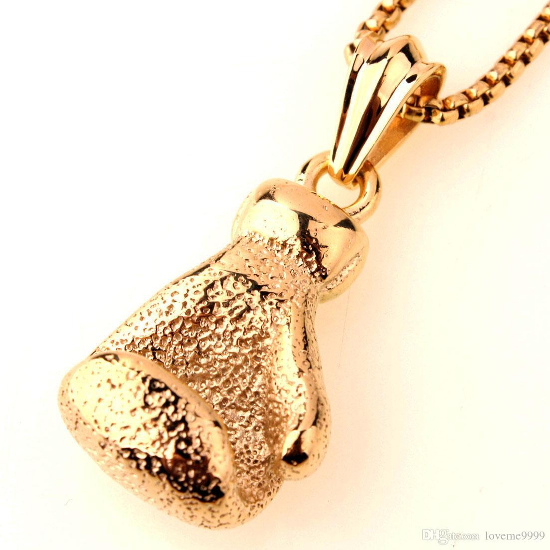 Хип-хоп золото / черный / посеребренные мода польский бокс спорт перчатки ожерелье бокс ювелирные изделия из нержавеющей стали кулон для мужчин мальчиков