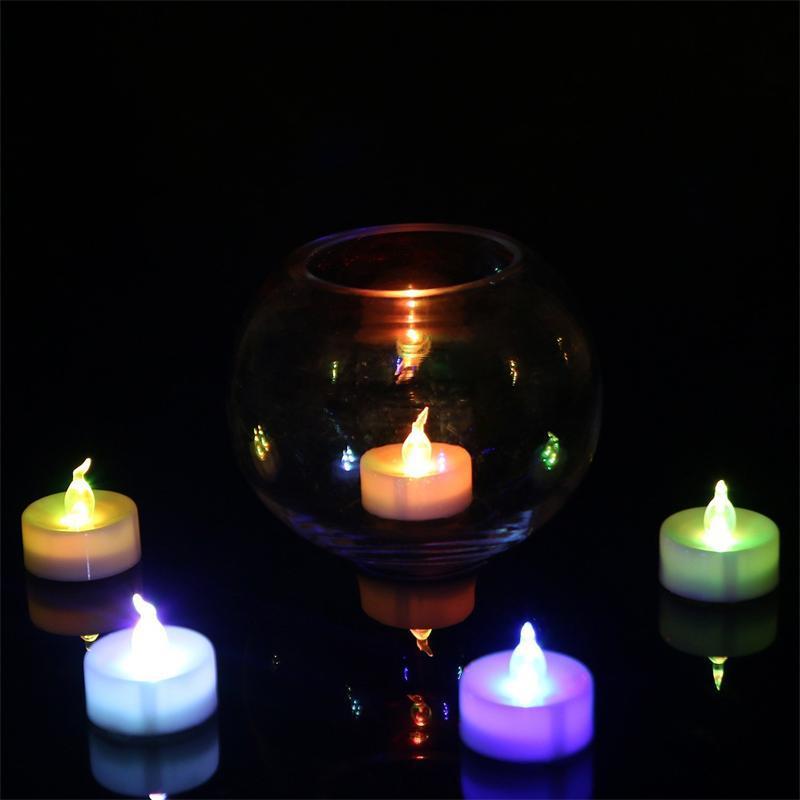 3.5 * 4.5 سم LED الخصم الاقمشه بيركلي الشاي الشموع عديمة اللهب الخفيفة الملونة الصفراء بطارية تعمل زفاف حفلة عيد الميلاد عيد الميلاد الديكور