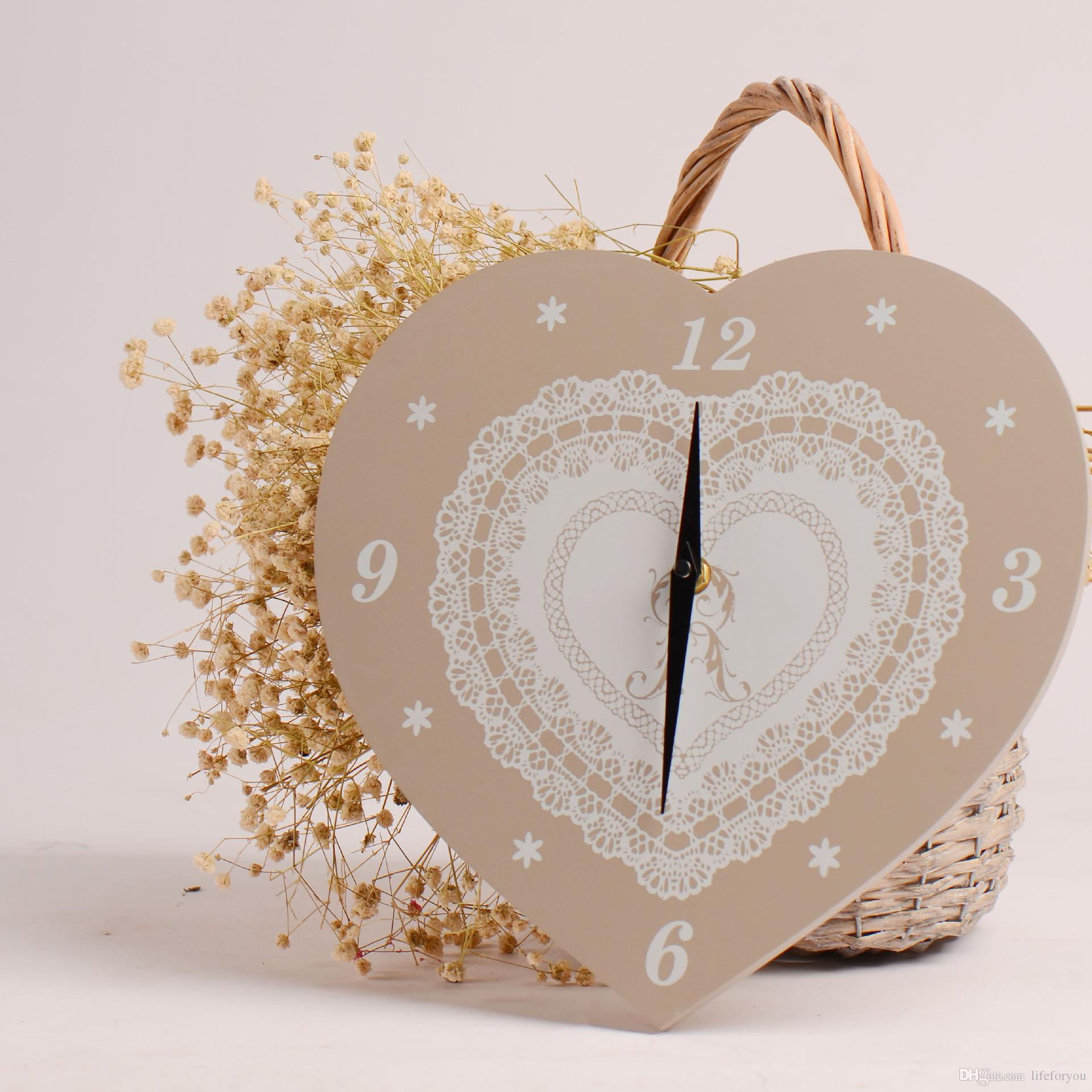 Wooden Wall Clock Heart Clock Pine Wall Decoration For Smart Home