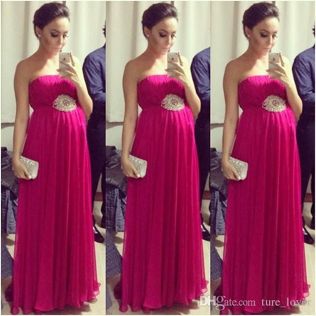 Caliente venta imperio fucsia embarazadas vestidos de baile sin mangas sin mangas de maternidad plisada mujeres de noche vestido formal alfombra roja celebridad