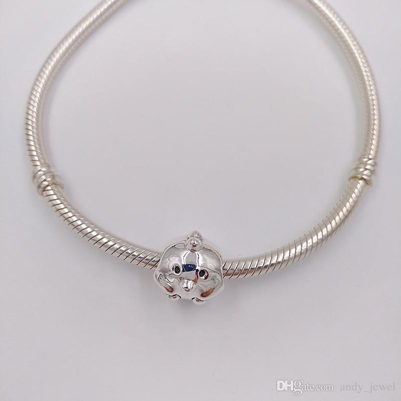 Auténticos 925 granos de plata esterlina encanto del polluelo encantos adapta el estilo de Pandora europeo joyas collar pulseras 791743 pollo animal