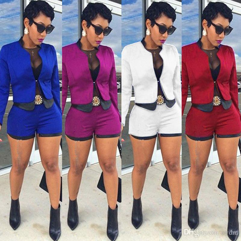 European fashion solid color long sleeve imitation leather Slim jacket high waist shorts suit white, red, blue support mixed batch