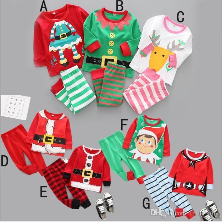 8707ef5fb Christmas Baby Clothes Kids Xmas Elk Pajamas Sets Striped Santa ...