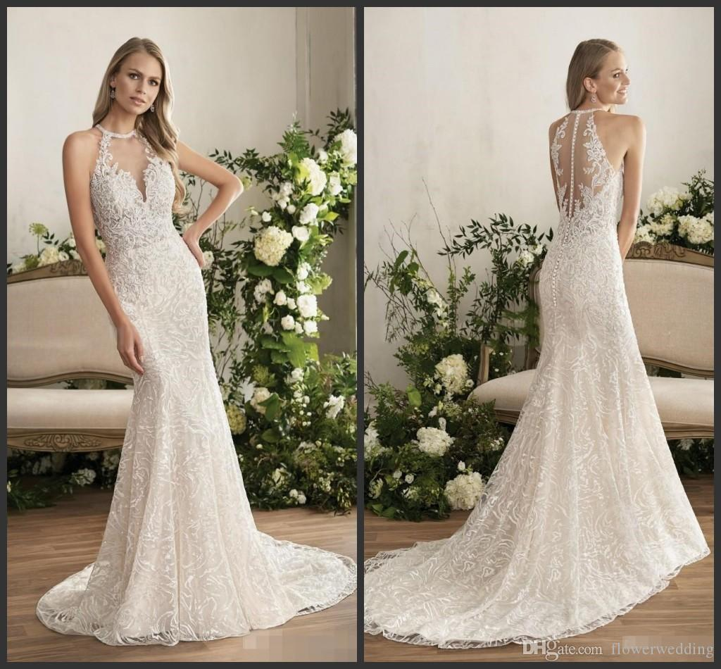 Vestidos de noivas simples vintage mermaid wedding dresses 2018 vestidos de noivas simples vintage mermaid wedding dresses 2018 baratos halter full lace applique button bridal gowns sweep train custom made illusion junglespirit Choice Image