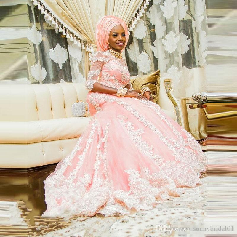 Gorgeous Nigerian Plus Size Wedding Dresses 2017 Newest Pink Long Bridal Gowns Mermaid African Women