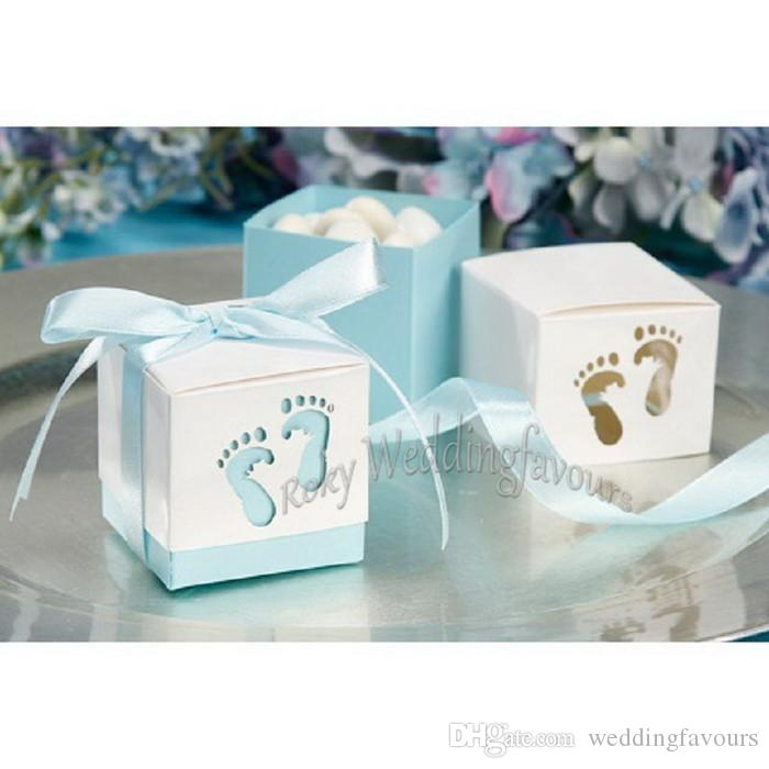 FREE SHIPPING 100PCS Baby Feet Favor Boxes Cut-Out Candy Boxes with Satin Ribbon for Baby Shower Birthday Candy Package Supplies