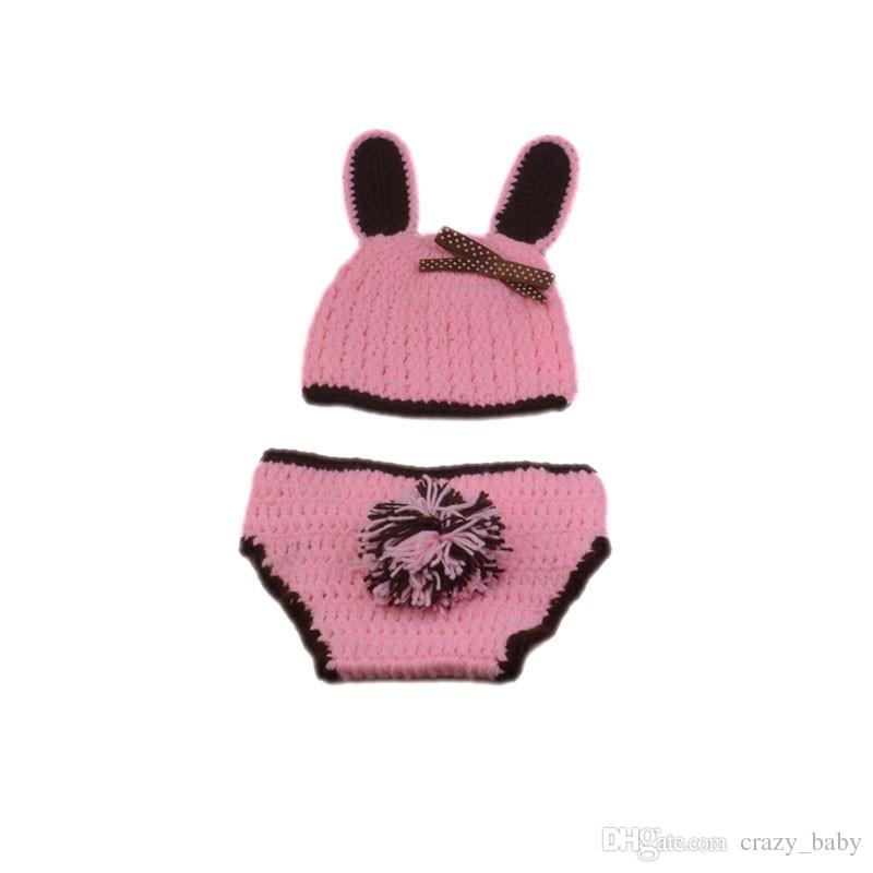 Cute Rabbit Design Infant Baby Unisex Photo Props Soft Crochet Baby Hat and Diaper Set for Fotografia Newborn Coming Home Outfits