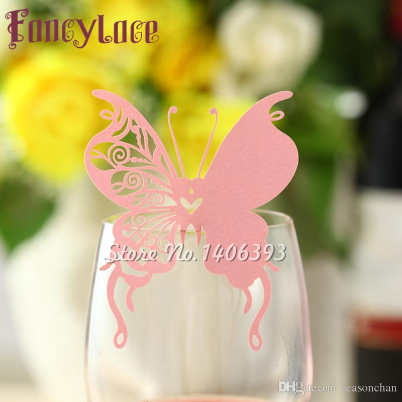 New Arrival Wedding Place Card butterfly Cups Glass Wine Customized Name Cards Laser Cut Pearl Paper Card Birthday Party Decoration