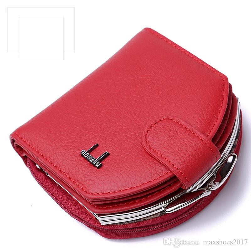 10d4edd1f4b7 Brand Designer Mini Genuine Leather Purse Female Zipper Hasp Cowhide Short  Wallet Balck Red Small Bag Female Rodeo Wallets Wallet Wristlet From  Maxshoes2017 ...