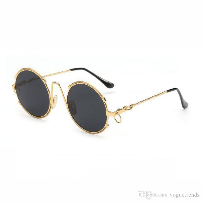 e977b7aa90c81 Compre Retro Rodada Fio De Metal Emoldurado Óculos De Sol 52mm Círculo Lente  Das Senhoras Óculos Vintage Eyewear Com Almofadas De Liga De Nariz De ...