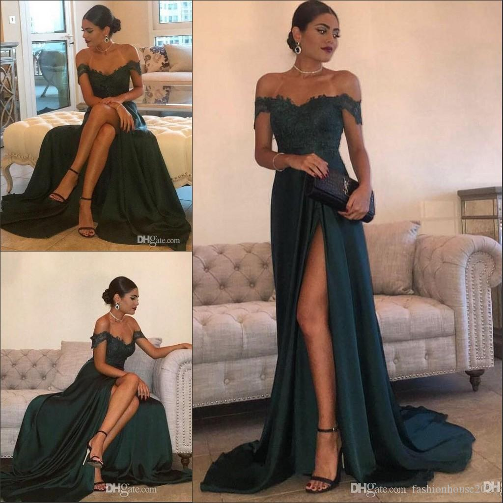 0b23574ded 2018 Sexy Prom Dresses Dark Green Off Shoulder Cap Sleeves Lace Appliques  High Side Split Long Plus Size Party Dress Evening Gowns Wear Prom Dresses  Gowns ...