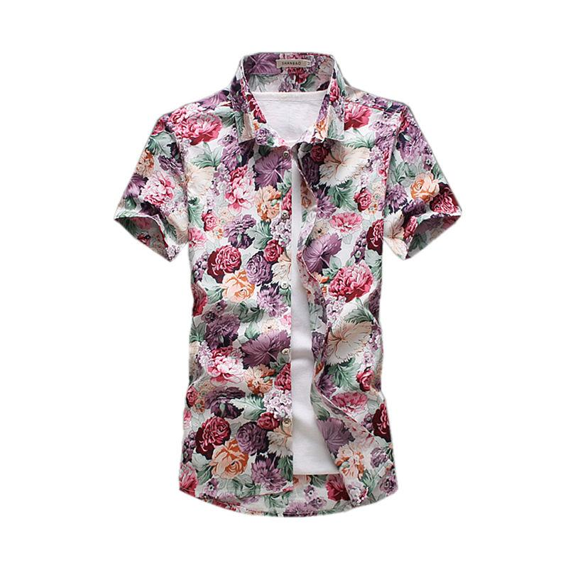 a4fcf3b5 2019 Wholesale Short Sleeved Hawaiian Shirt Men 2017 Summer Fashion Floral  Shirts Men Flowers Printed Shirts Casual Men Shirt Pls Size From Xiatian7,  ...