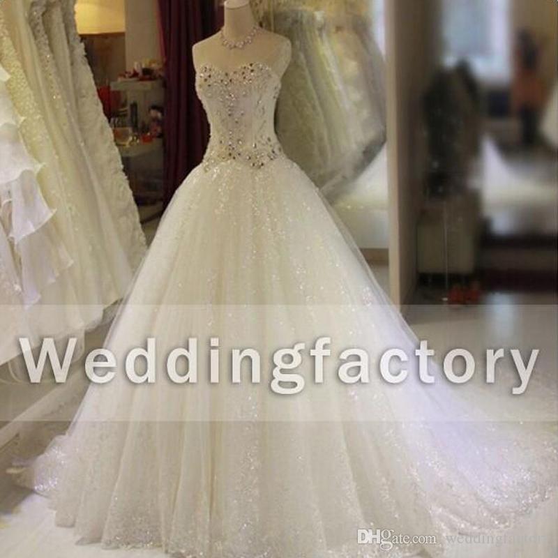 Bling Bling Wedding Dresses Ball Gown Sweetheart Sleeveless Shinny