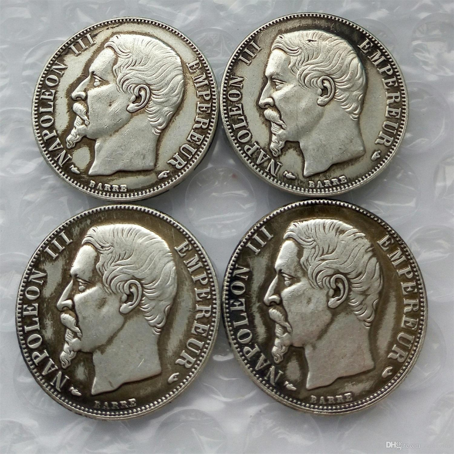 France A set of( 1853 1855 1856 1863)-A 4pcs Napoleon III 2 Francs Silver  Coin Whole Crafts Free Shipping Promotion Cheap Factory Price nice