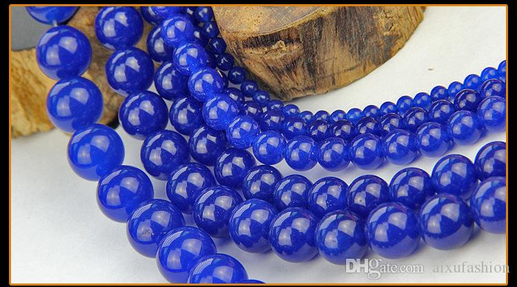 Blue Jade Stone Beads Imitation Lapis Lazuli Blue Chalcedony Round Loose Beads for Jewelry Making DIY Bracelet Necklace 4/6/8/10/12mm