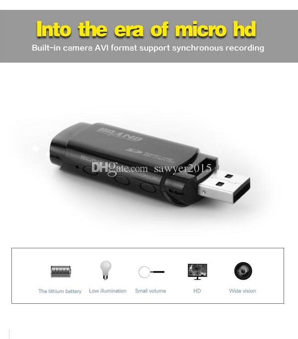 MINI USB Disk Camera U838 HD 1080P U disk Mini Camcorder Portable USB Flash Drive pinhole Camera Support IR Night Vision