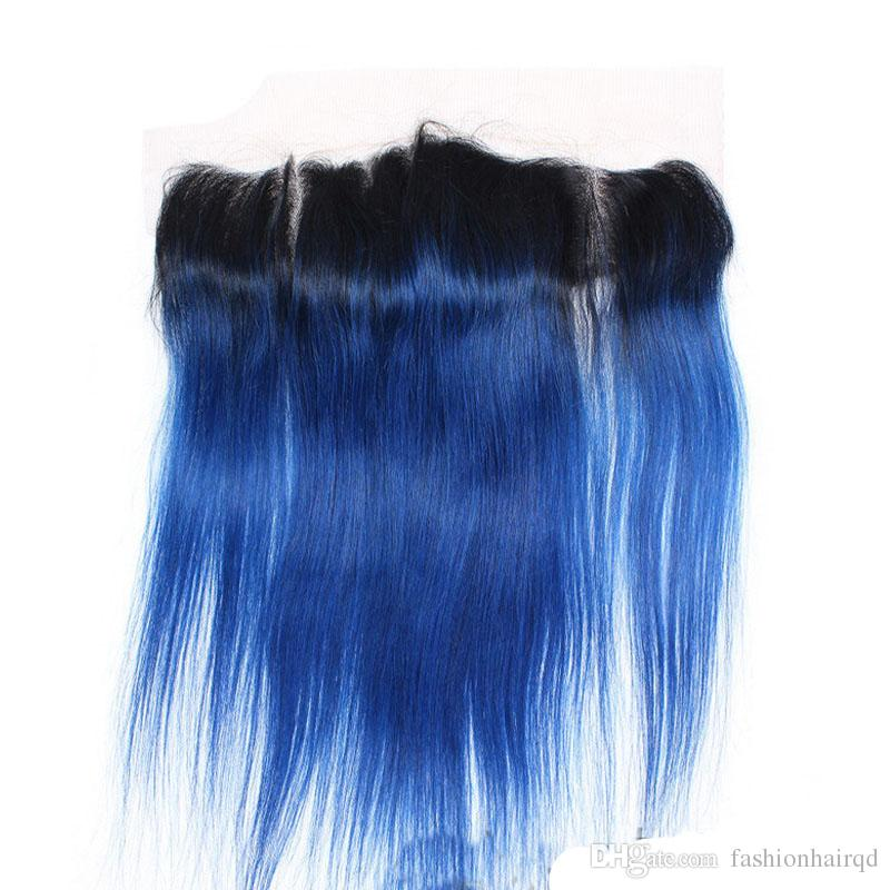 Ombre Brazilian Straight Lace Frontal Closure T1b Blue Two Tone Virgin Human Hair Ear To Ear Lace Closure Bleached Knots Natural Hairline