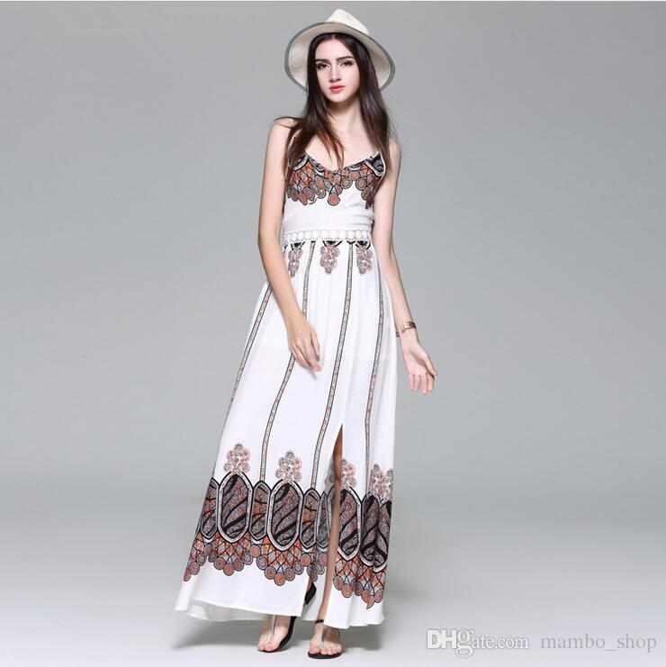 fd9bca77a5 Print Vestidos Summer Fashion Women Sexy Spaghetti Strap Dress V Neck  Crochet Lace Waist Skater Dress Casual Party Long Dress M47 Unique Dresses  Long Summer ...