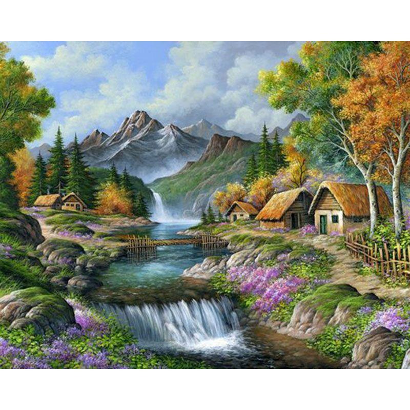 2018 Beautiful Scenery Waterfall Landscape Diy Diamond Painting 5d Mosaic Cross Stitch Embroidery Home Wall Decor From Meetsunshine 652