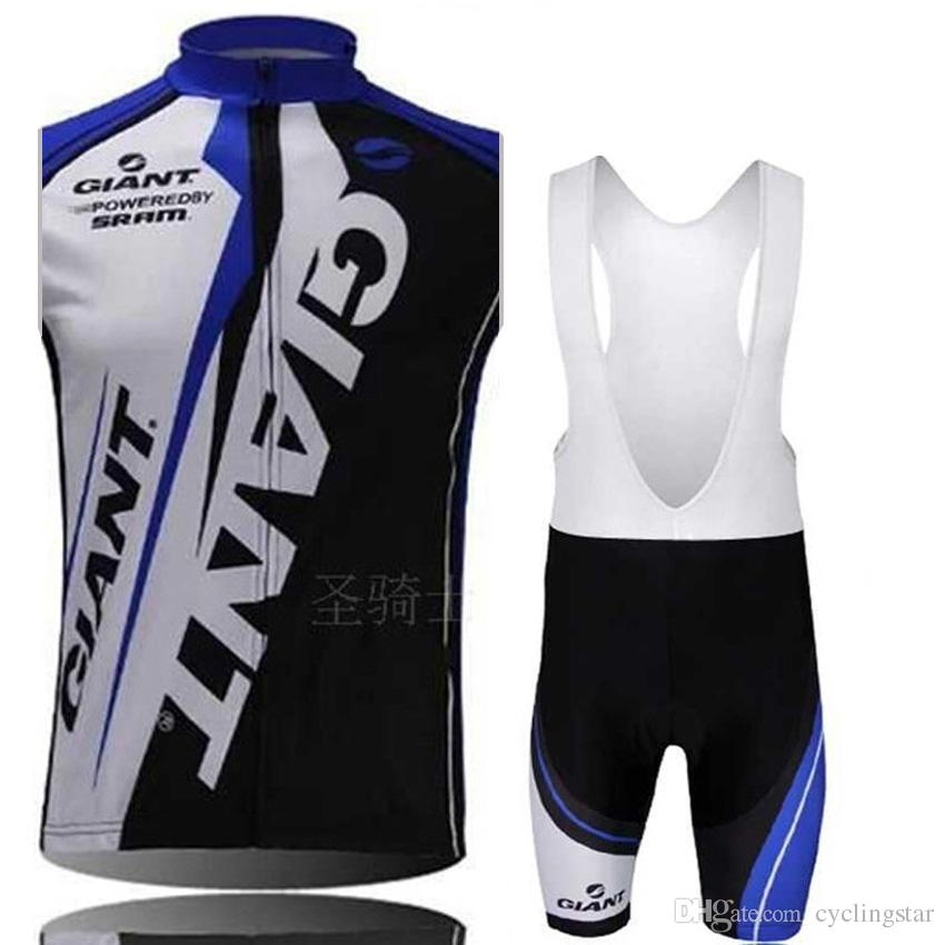 New Pro giant Mens Cycling Clothing Ropa Ciclismo quick dry Cycling sleeveless Jersey bicycle shirt and Bike bib Shorts set C0903