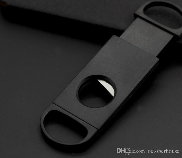 Cep Plastik Paslanmaz Çelik Metal Çift Bıçakları Puro Kesici Bıçak Makas Tütün Siyah sigara Araçları Aksesuarları Borular