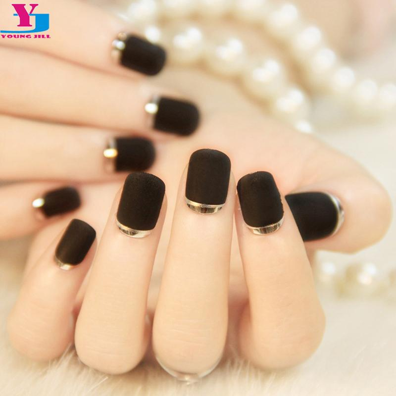 Wholesale False Nails Matte Black Slver Metallic French Fake Nails ...