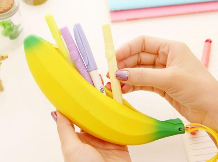 Creative Cute Novelty Yellow Banana Silicone Pencil Bag Stationery Case Small Coin purse Change Storage Bag